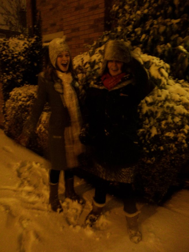 With mama in snow